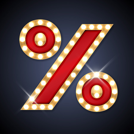 illustration of realistic retro signboard Percent symbol.
