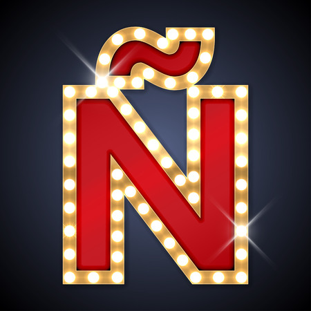 lamp light: illustration of realistic retro signboard letter NN with a diacritical tilde. Illustration