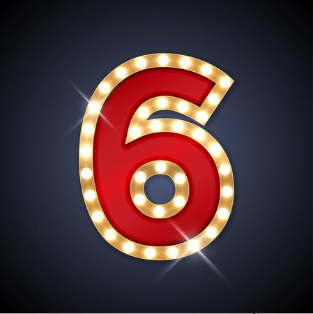 nombres: illustration de nombre rétro enseigne réaliste 6 six.