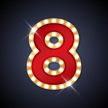 nombres: illustration de nombre rétro enseigne réaliste 8 huit.