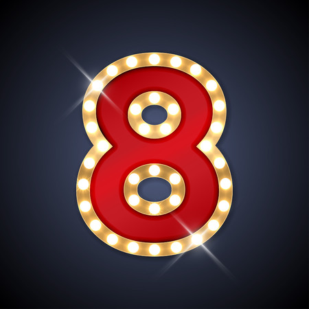 gold numbers: illustration of realistic retro signboard number 8 eight.