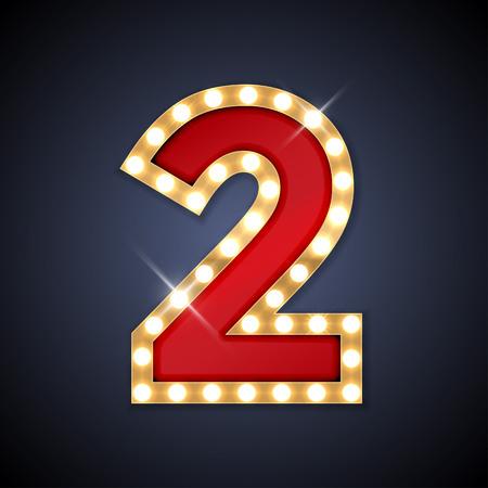 letras de oro: ilustración de realista Letrero retro número 2 dos.