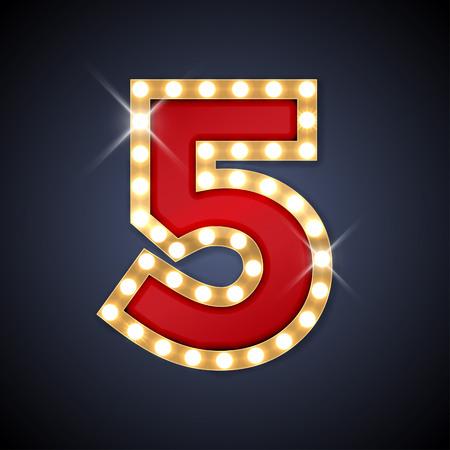nombres: illustration de nombre rétro enseigne réaliste 5 cinq.