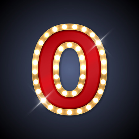 letters gold: illustration of realistic retro signboard number 0 zero. Illustration