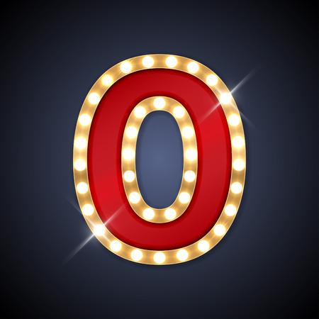 lampada: illustrazione del numero realistico retro cartello 0 zero. Vettoriali