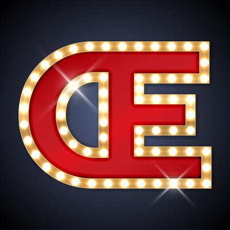 ligature: illustration of realistic retro signboard letter OE ligature OE.  Illustration