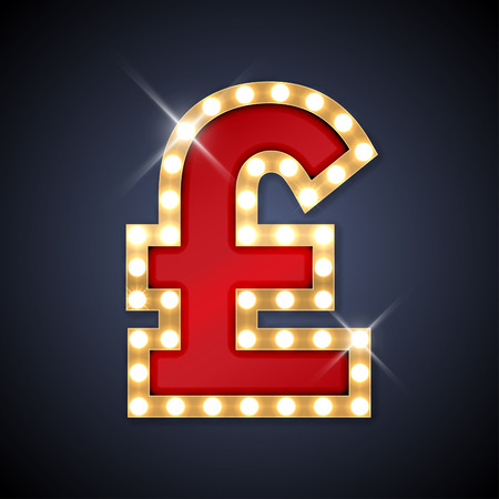 british pound: illustration of realistic retro signboard letter Pound sign.
