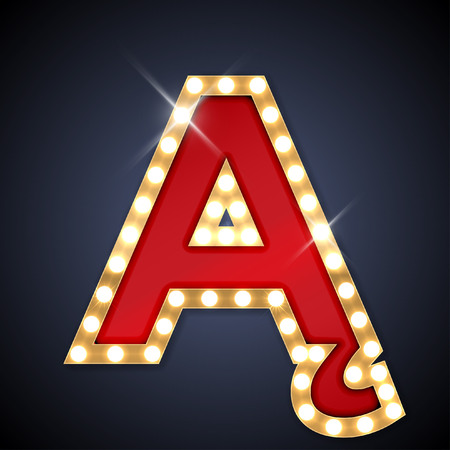 light abc: illustration of realistic retro signboard A with ogonek.