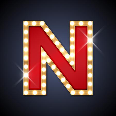 illustratie van realistische retro uithangbord letter N.