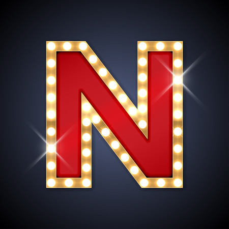 neon letter: illustration of realistic retro signboard letter N.
