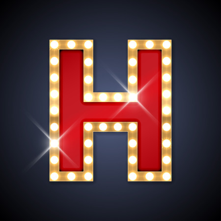 old letters: illustration of realistic retro signboard letter H.