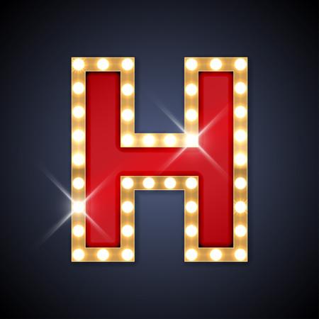 tipos de letras: ilustraci�n de realista carta letrero H. retro