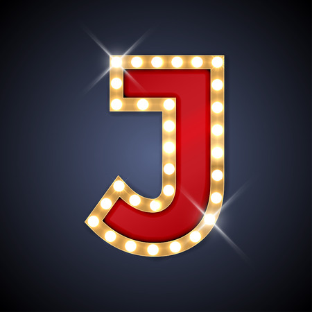 Vector illustration of realistic retro signboard letter J. Part of alphabet including special European letters.