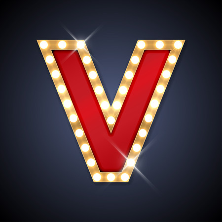 illustration of realistic retro signboard letter V.