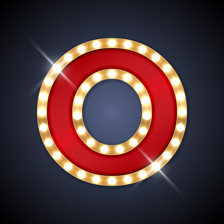 文字 O で現実的なレトロな看板のイラスト