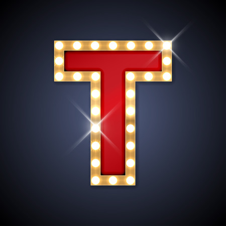 letters gold: illustration of realistic retro signboard letter T.