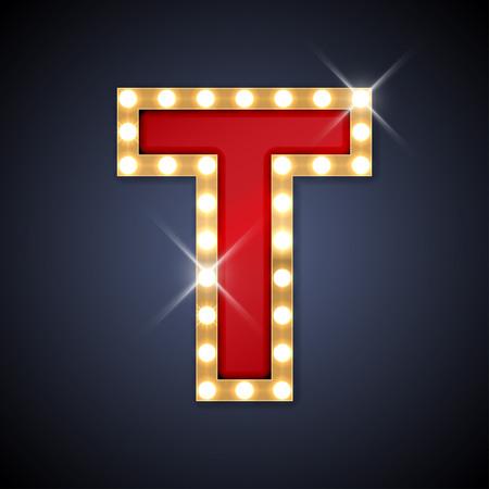 lampada: illustrazione di realistico retro lettera cartello T. Vettoriali