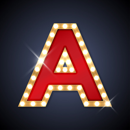 gold letters: illustration of realistic retro signboard letter A.  Illustration