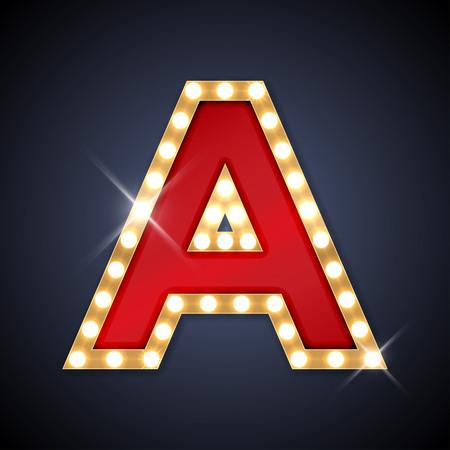 lampada: illustrazione di realistico retro lettera cartello A. Vettoriali