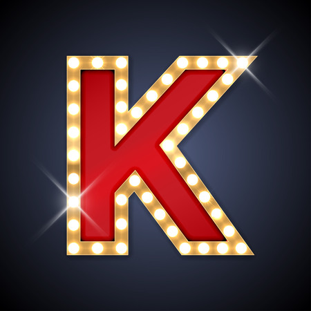 neon letter: illustration of realistic retro signboard letter K.