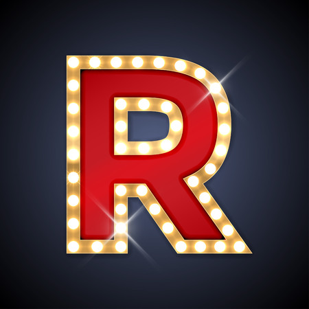 letters gold: illustration of realistic retro signboard letter R.