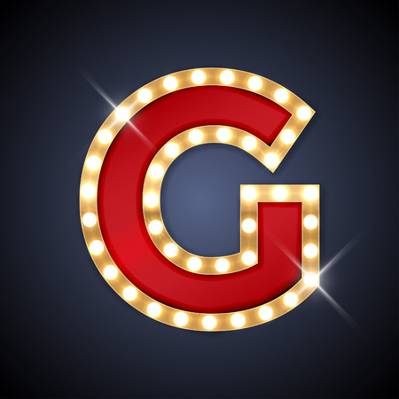 letters gold: illustration of realistic retro signboard letter G.