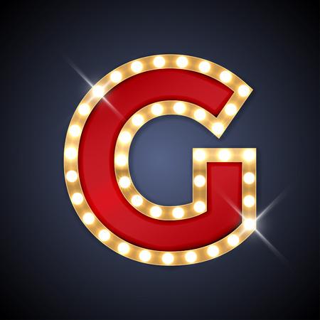 light abc: illustration of realistic retro signboard letter G.