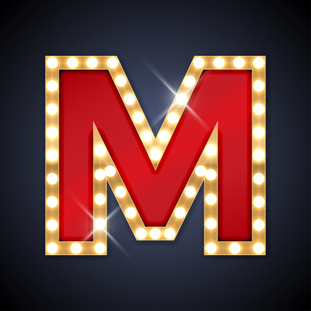 letters gold: illustration of realistic retro signboard letter M. Illustration
