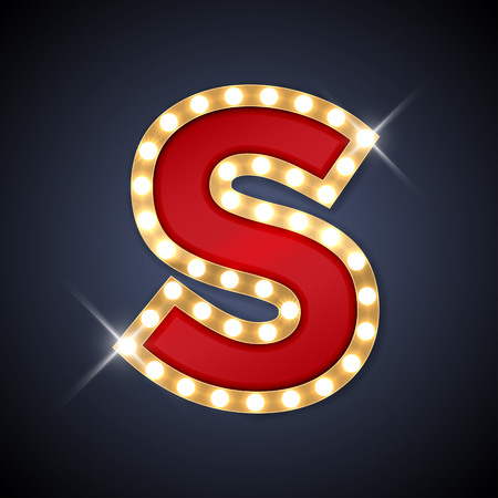 letters gold: illustration of realistic retro signboard letter S.
