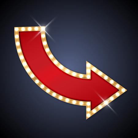 luz roja: Flecha retro con espacio para el texto