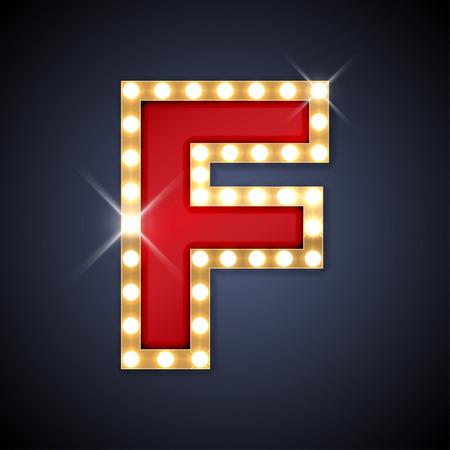 neon letter: illustration of realistic retro signboard letter F.  Illustration