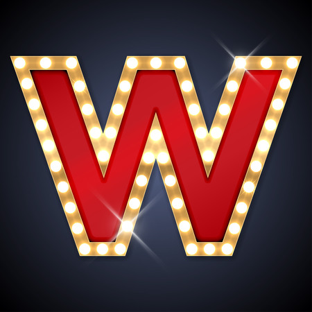 letter w: illustration of realistic retro signboard letter W.