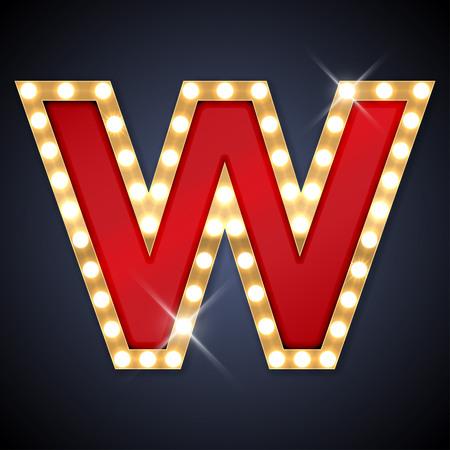 tipos de letras: ilustración de realista carta letrero W. retro