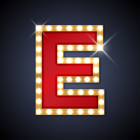letters gold: illustration of realistic retro signboard letter E.