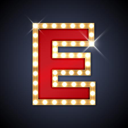 letras de oro: ilustración de realista carta Letrero retro E. Vectores