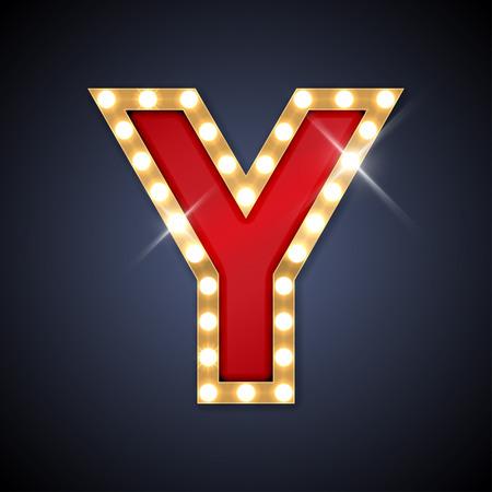 illustratie van realistische retro uithangbord letter Y. Stock Illustratie