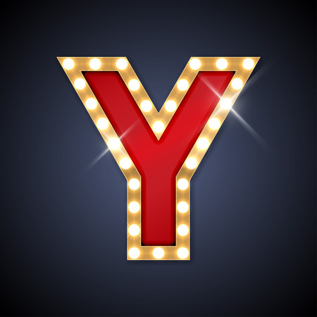 neon letter: illustration of realistic retro signboard letter Y.