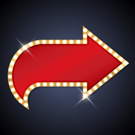 red sign: Retro light bulb arrow with space for text Illustration