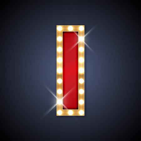 lettre alphabet: illustration de réaliste rétro lettre d'enseigne I.