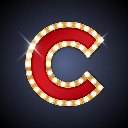 illustratie van realistische retro uithangbord letter C.