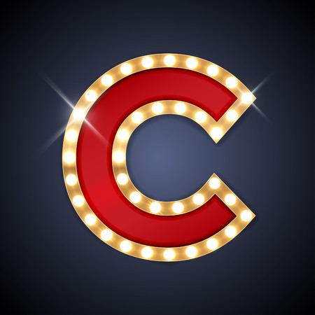 letters gold: illustration of realistic retro signboard letter C. Illustration