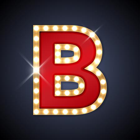 illustratie van realistische retro uithangbord letter B. Stock Illustratie