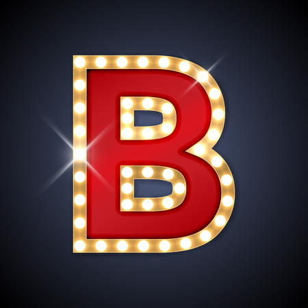 gold: illustration of realistic retro signboard letter B. Illustration