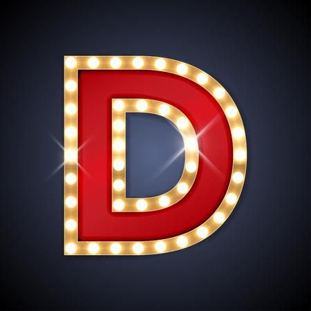 illustratie van realistische retro uithangbord letter D.