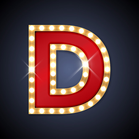 neon: illustration of realistic retro signboard letter D.
