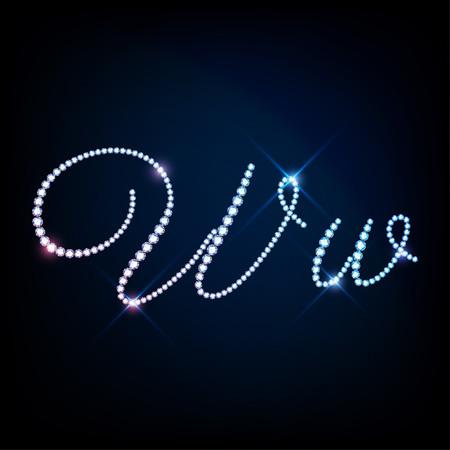letter w: Diamond glittering letter W of sparkling brilliants glitter font concept