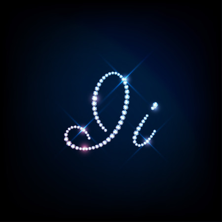 modish: Diamond glittering letter I of sparkling brilliants glitter font concept Illustration