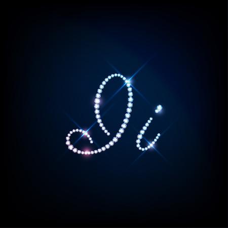 brilliants: Diamond glittering letter I of sparkling brilliants glitter font concept Illustration