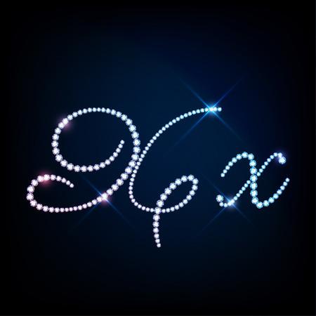 blink: Diamond glittering letter X of sparkling brilliants glitter font concept