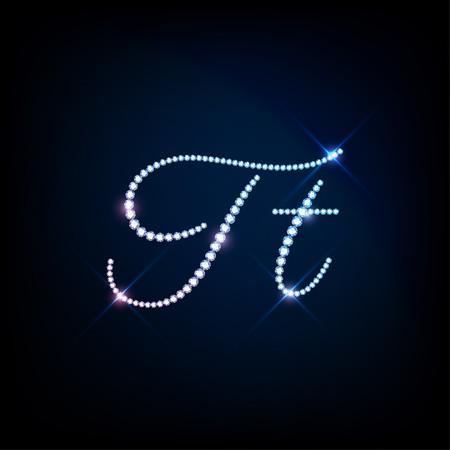 brilliants: Diamond glittering letter T of sparkling brilliants glitter font concept Illustration
